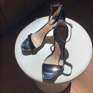 Black  Patent Patti Ankle Strap Sandal US 7.5